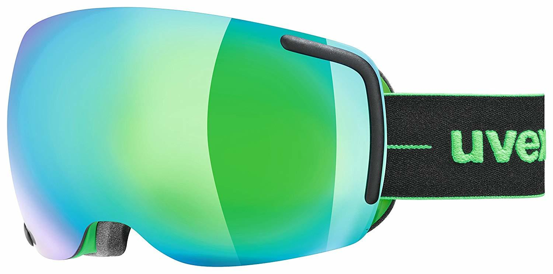 black/green ski goggles