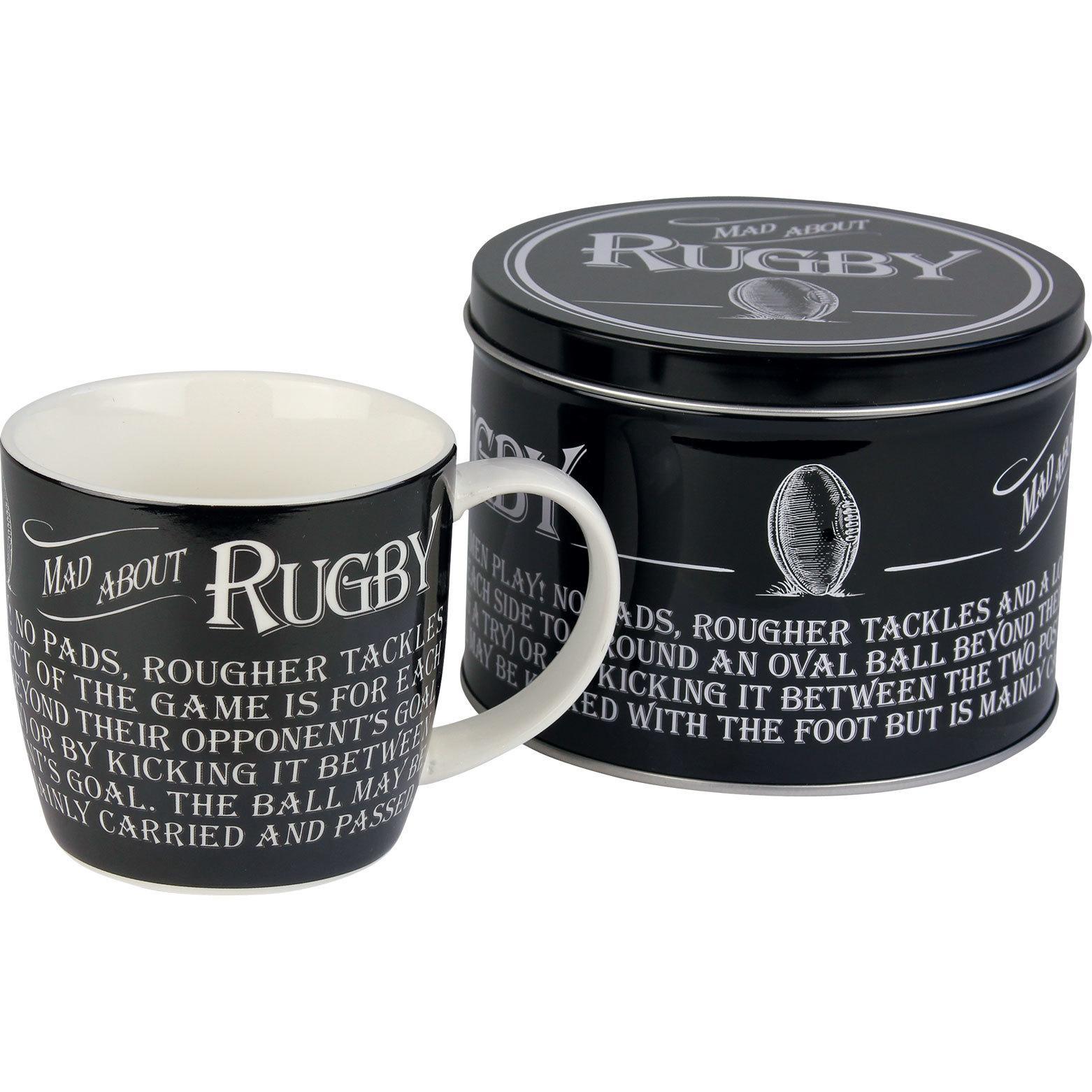 rugby mug in a tin