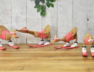 Wooden painted skiing duck