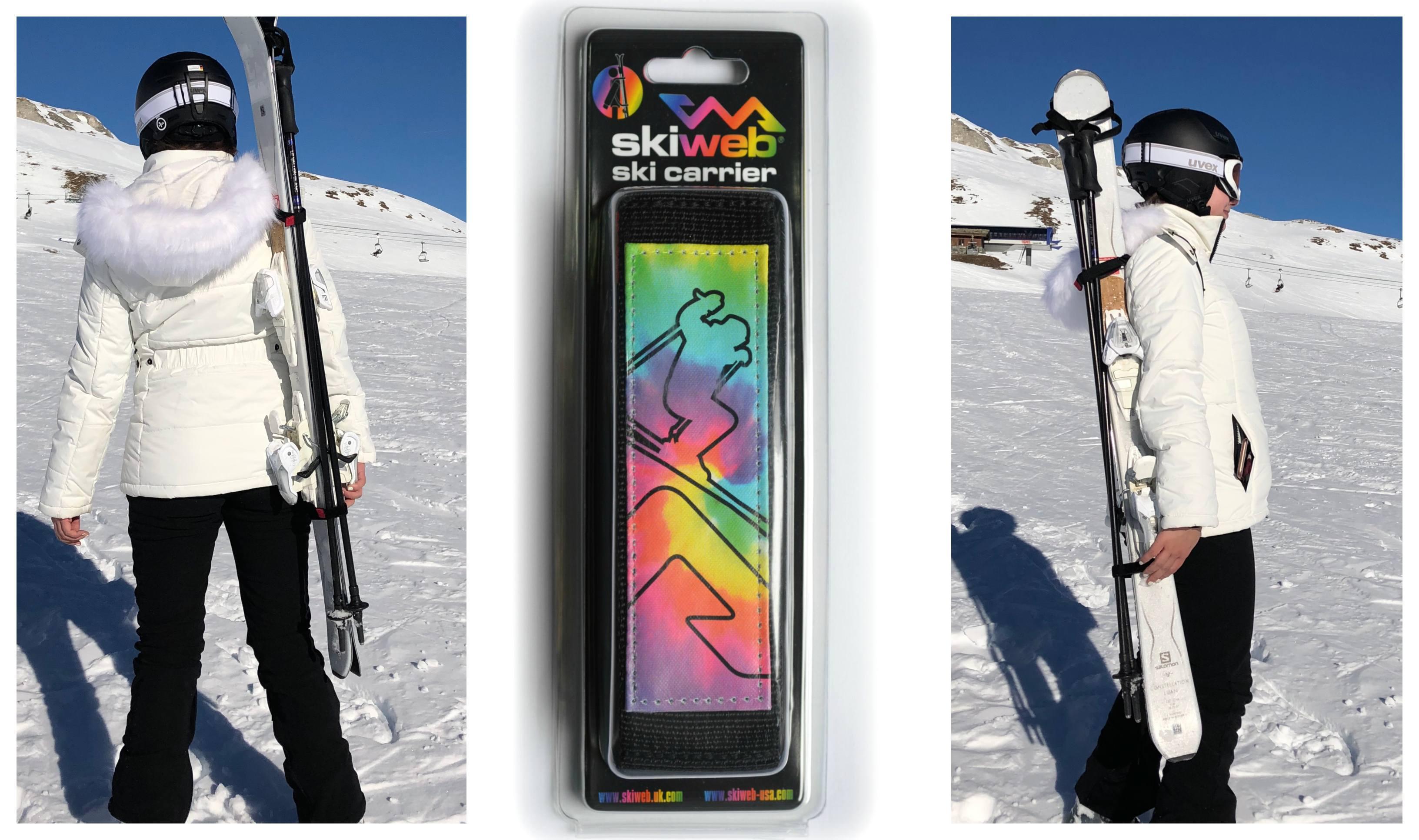 multi coloured ski carrier