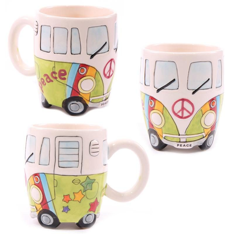 campervan peace mug green