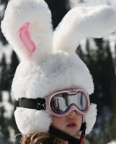 white rabbit ski helmet cover